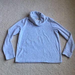 Pure Jill sweater soft fleece gray cowl neck